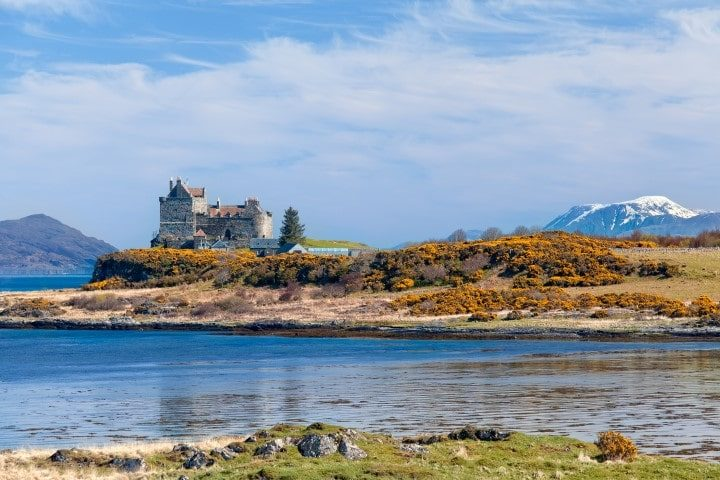 Duart Castle is a castle on the Isle of Mull, off the west coast of Scotland, within the council area of Argyll and Bute. The castle dates back to the 13th century and is the seat of Clan MacLean