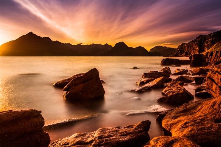 Sunset over Elgol Harbor