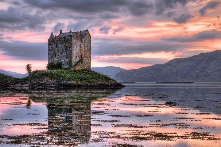 Stalker castle, Highlands, Scotland, seen at dusk